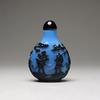 19th Century Chinese Overlay Black Glass Snuff Bottle