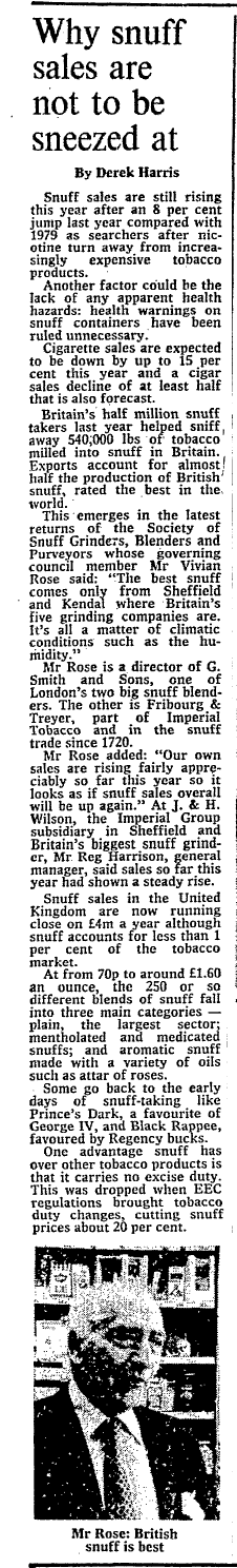 Snuff Sales Rising 1981